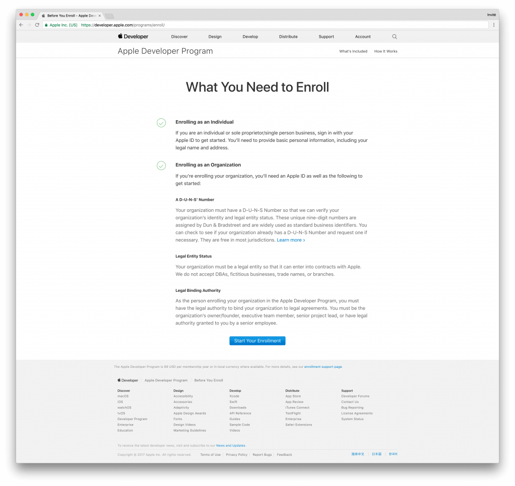 tutoriel apple developer start your enrollment