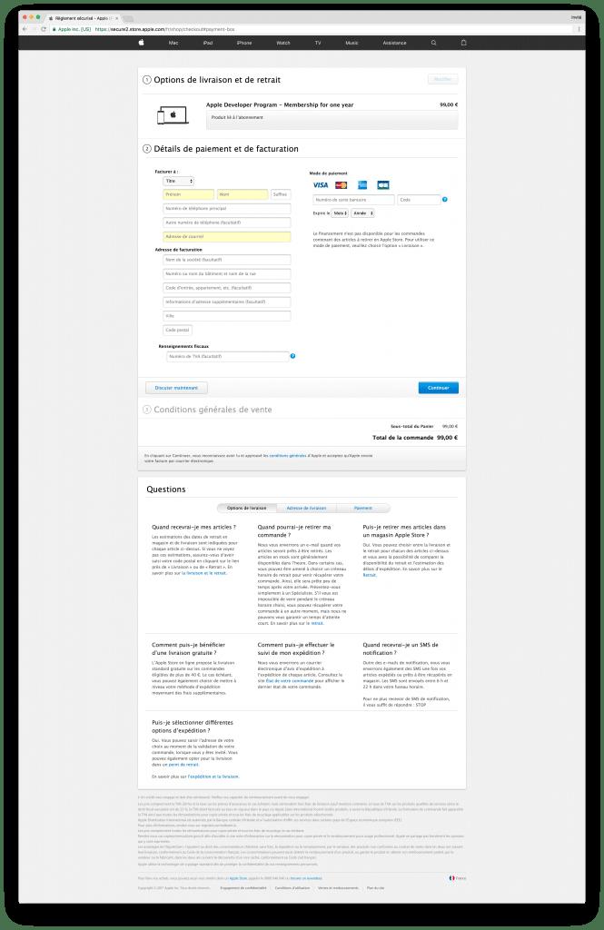 tutoriel apple developer individual payment