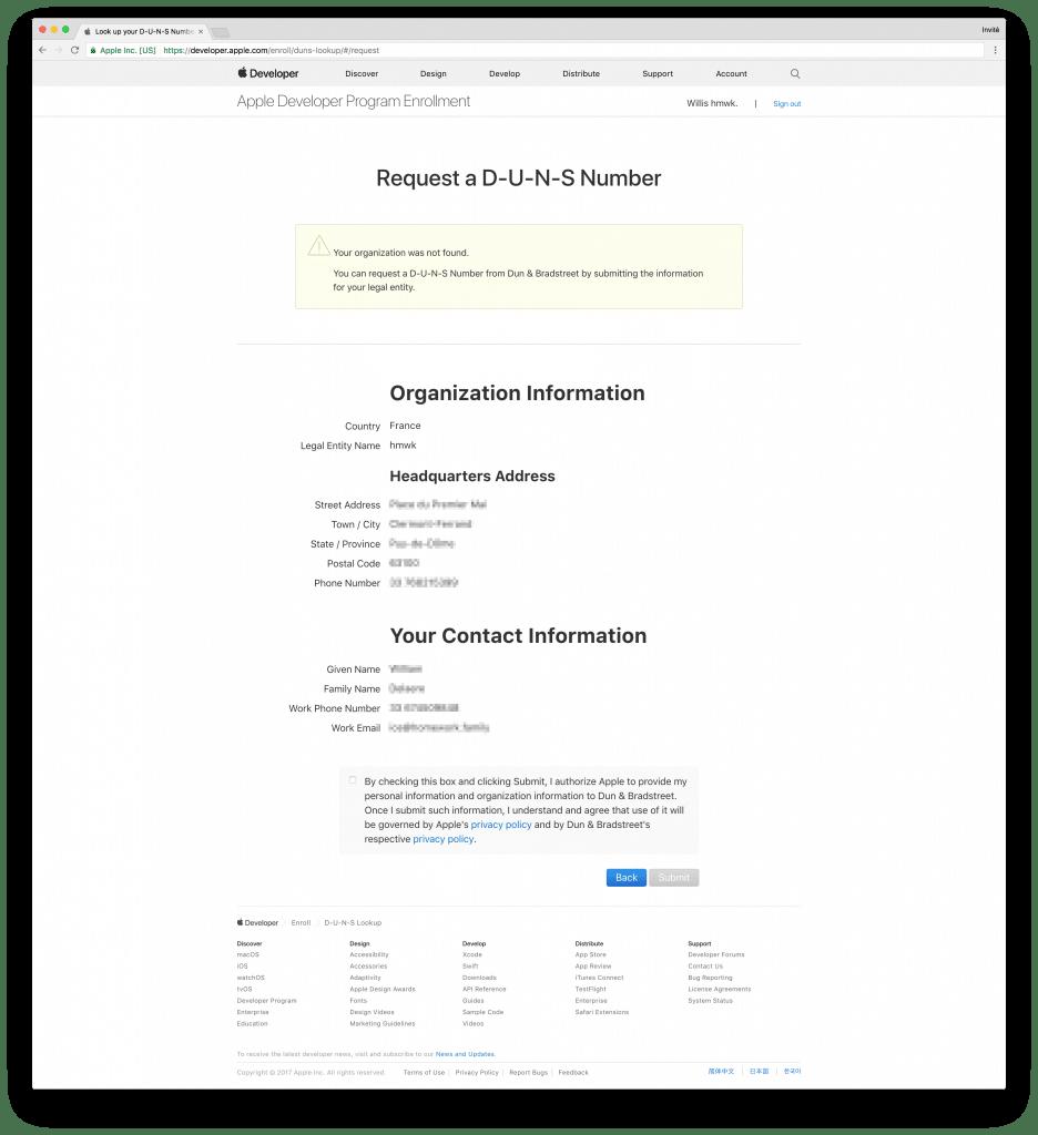 tutoriel apple developer company get duns number comfirm