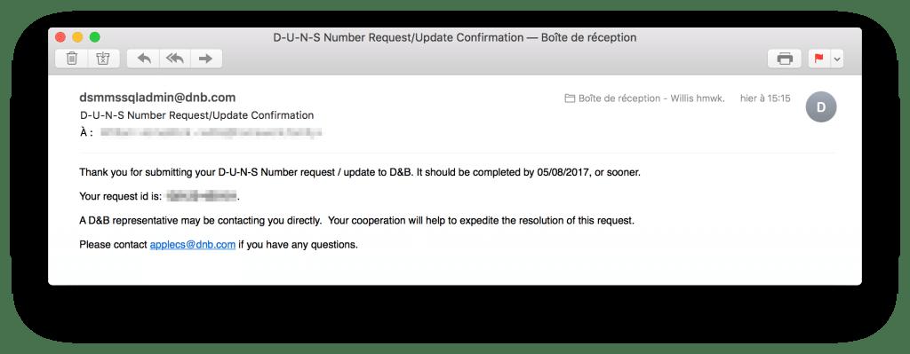 tutoriel apple developer company get duns number email confirm