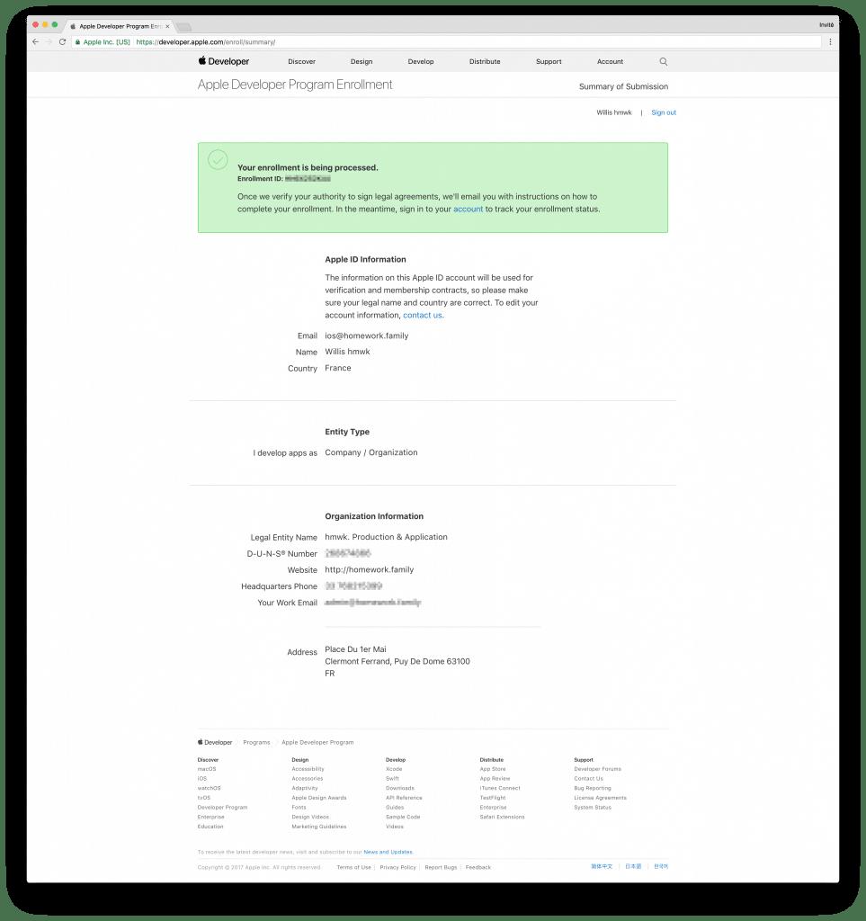 tutoriel apple developer company confirm create process