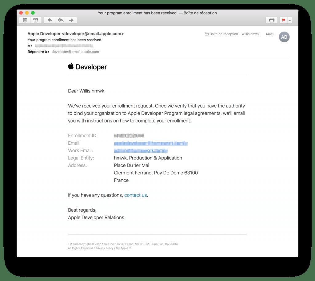 tutoriel apple developer company confirm create process email