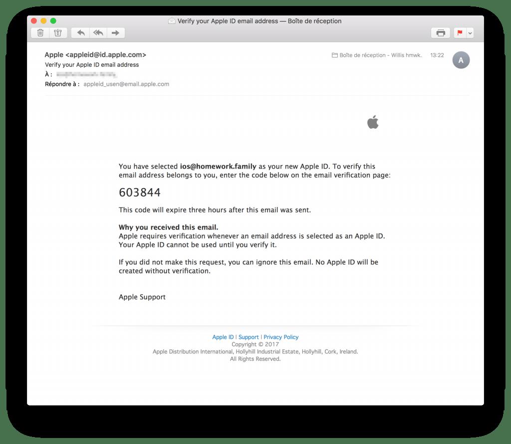 tutoriel apple developer confirm email