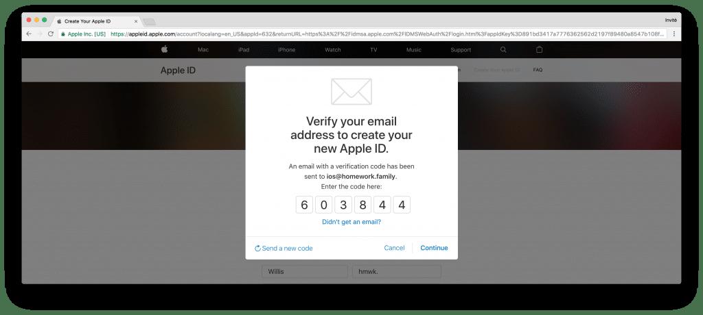 tutoriel apple developer confirm code