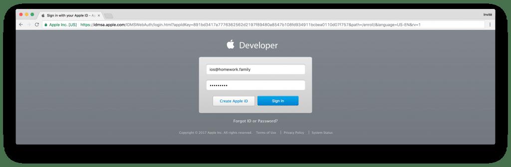 tutoriel apple developer connect