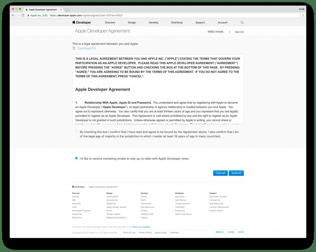 tutoriel apple developer confirm licence
