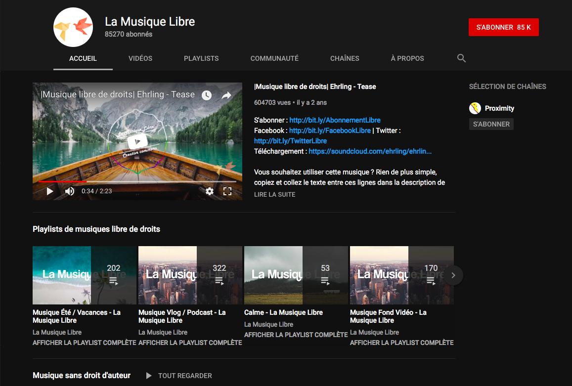 capture d'écran de la galeries YouTube des musiques libres de droits